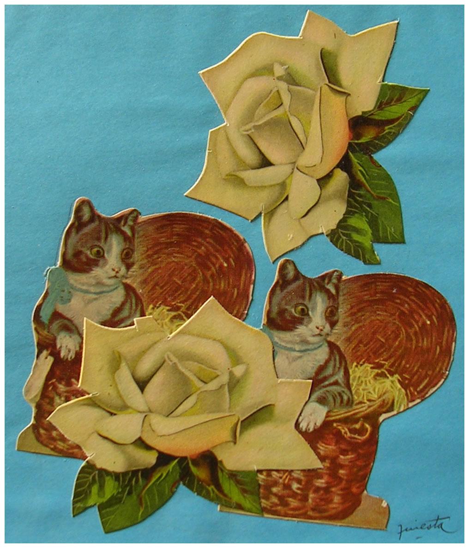 Gatos, dúo,  papel collage, 15 cm x 15 cm, 1999