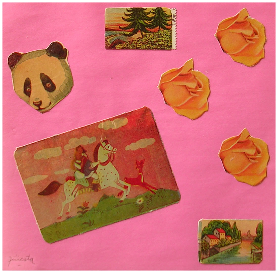 La cautiva,  papel collage, 15 cm x 15 cm, 1999
