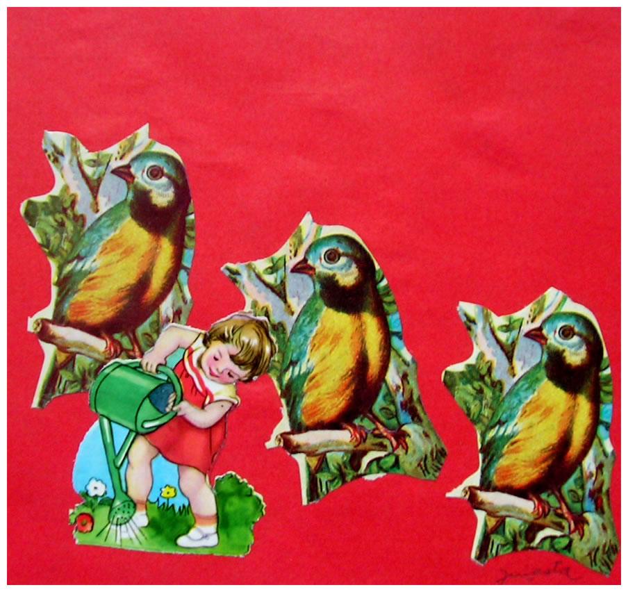 La niña regando,  papel collage, 15 cm x 15 cm, 1999