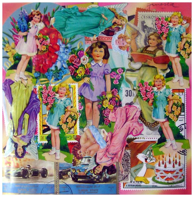 Las niñas en primavera,  papel collage, 15 cm x 15 cm, 1999