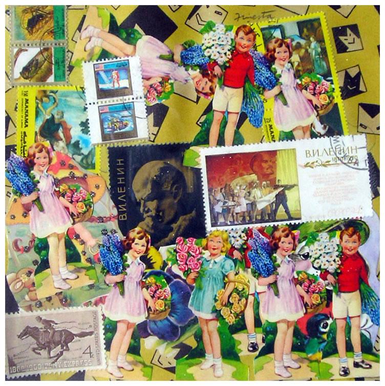 Las niñas,  papel collage, 15 cm x 15 cm, 1999
