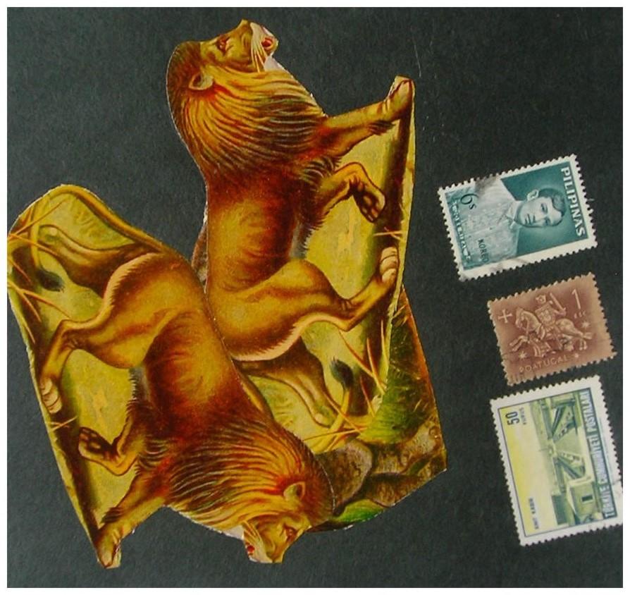 Los leones II,  papel collage, 15 cm x 15 cm, 1999