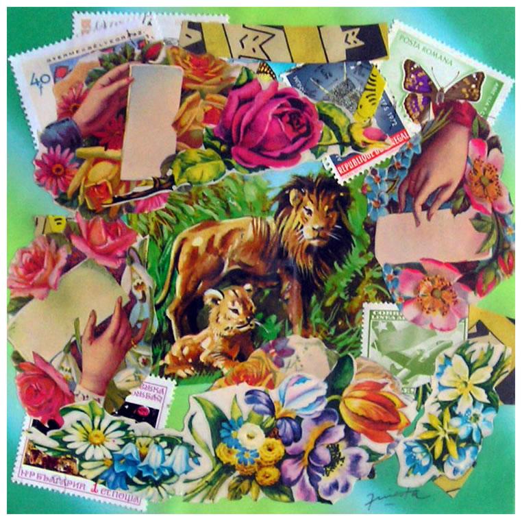 Los leones,  papel collage, 15 cm x 15 cm, 1999