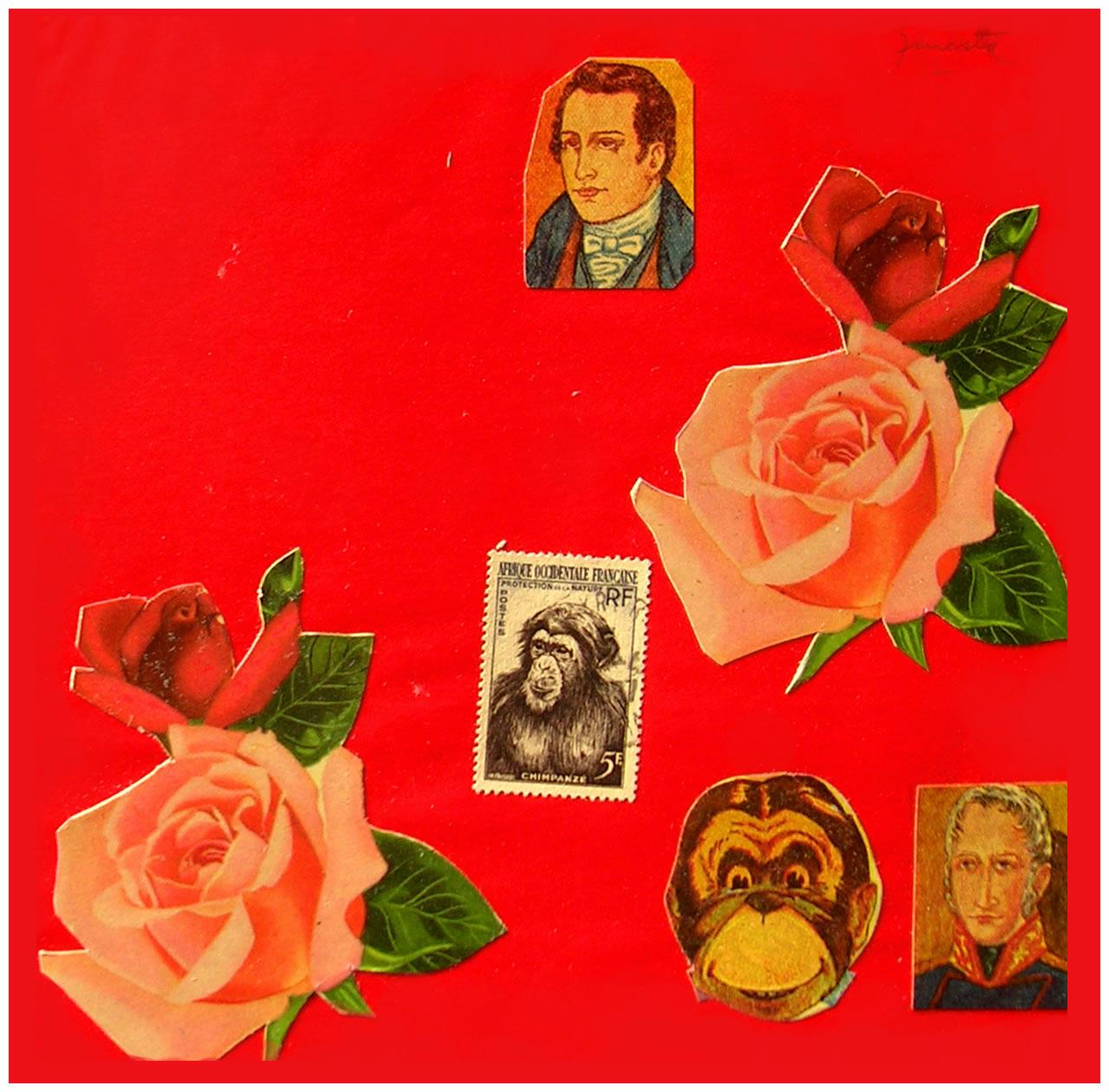 Mariano Moreno,  papel collage, 15 cm x 15 cm, 1999