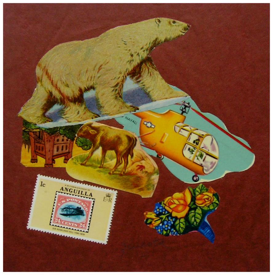 Oso polar,  papel collage, 15 cm x 15 cm, 1999