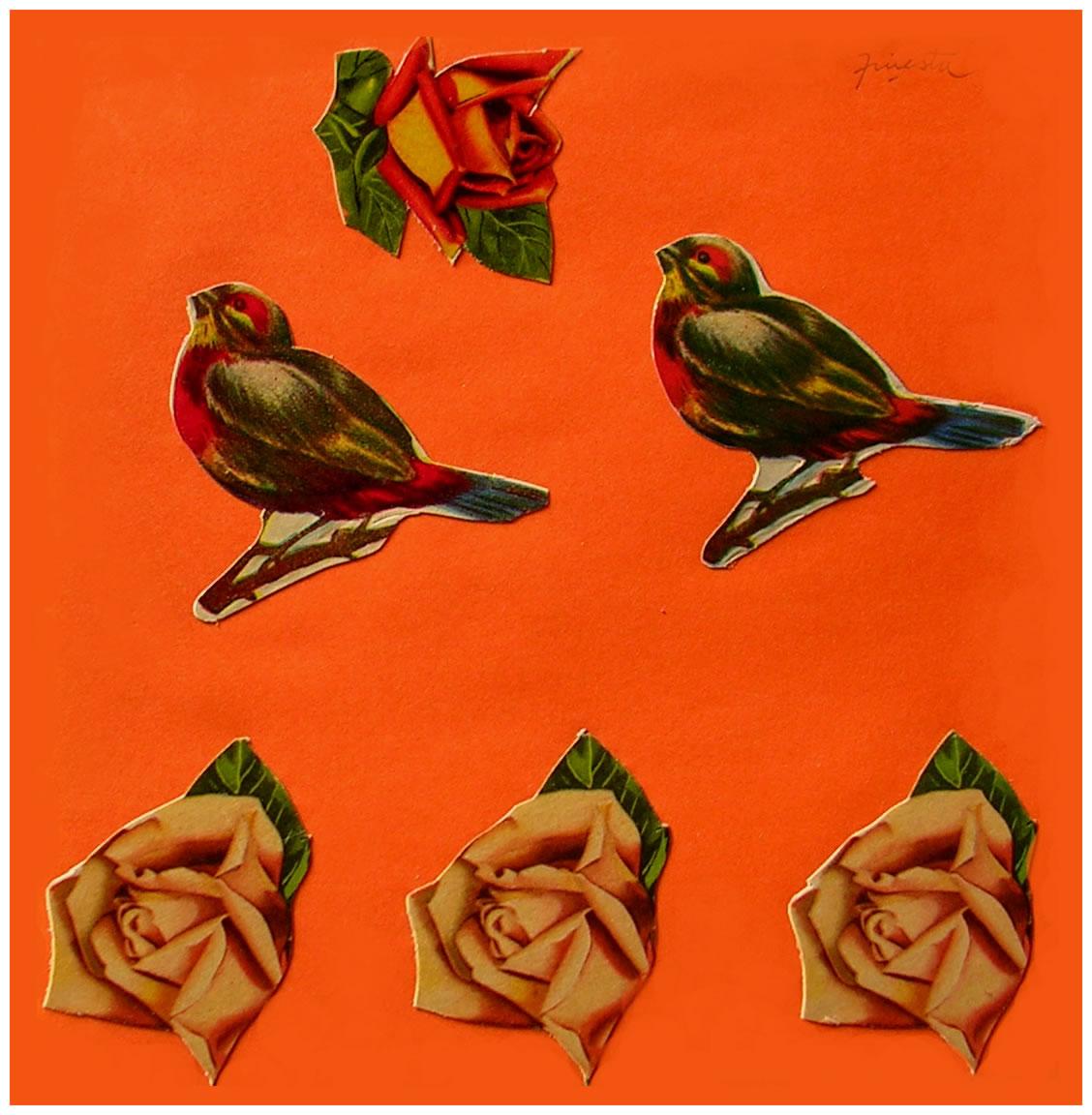 Pájaros y rosas II,  papel collage, 15 cm x 15 cm, 1999
