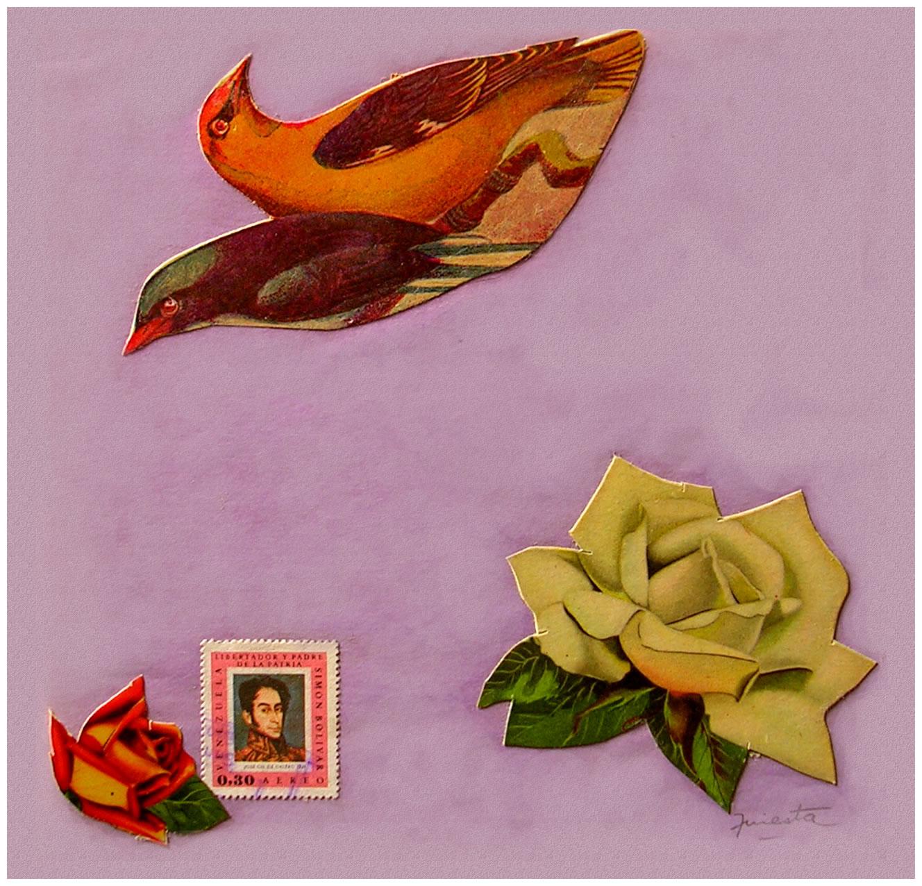 Pájaros y rosas,  papel collage, 15 cm x 15 cm, 1999