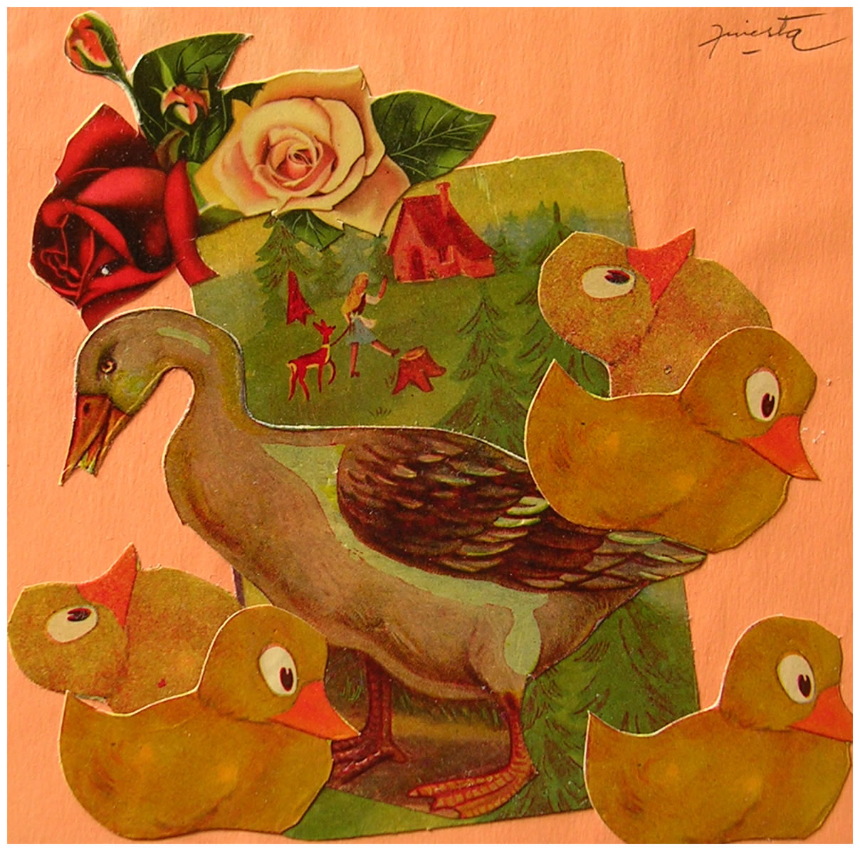 Pata y patos,  papel collage, 15 cm x 15 cm, 1999