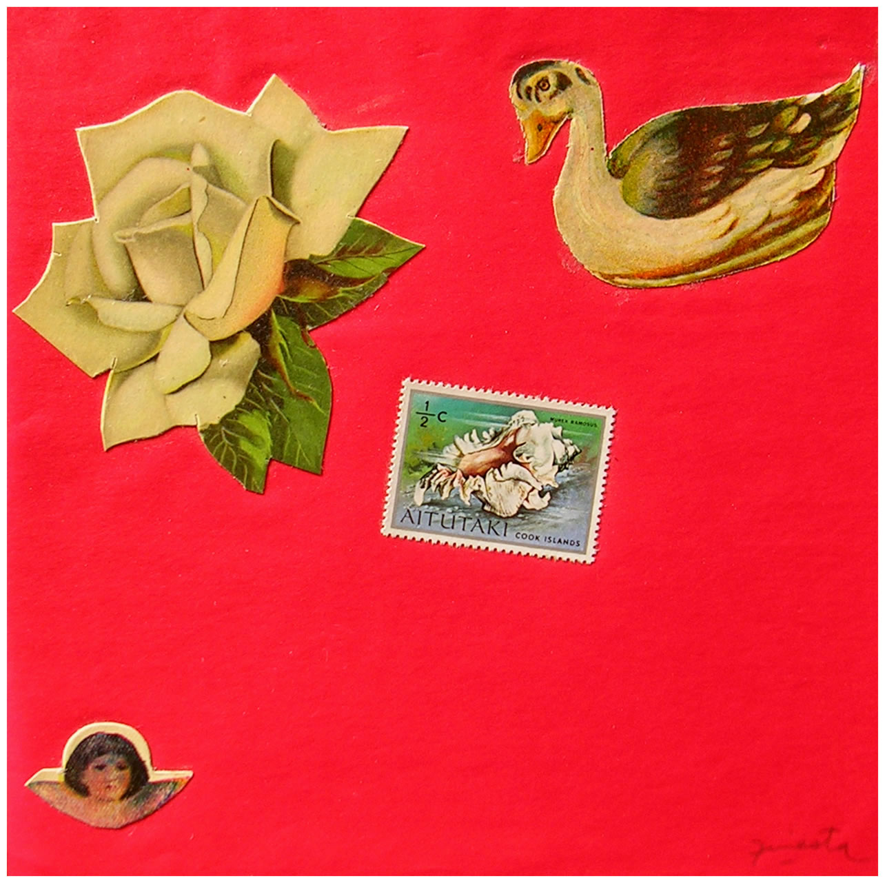 Pato,  papel collage, 15 cm x 15 cm, 1999