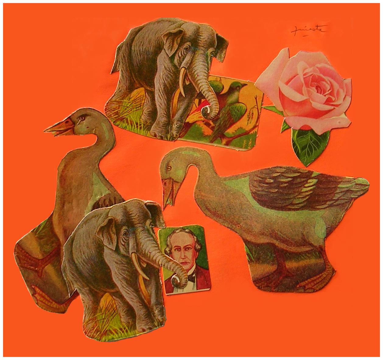 Patos y elefantes,  papel collage, 15 cm x 15 cm, 1999