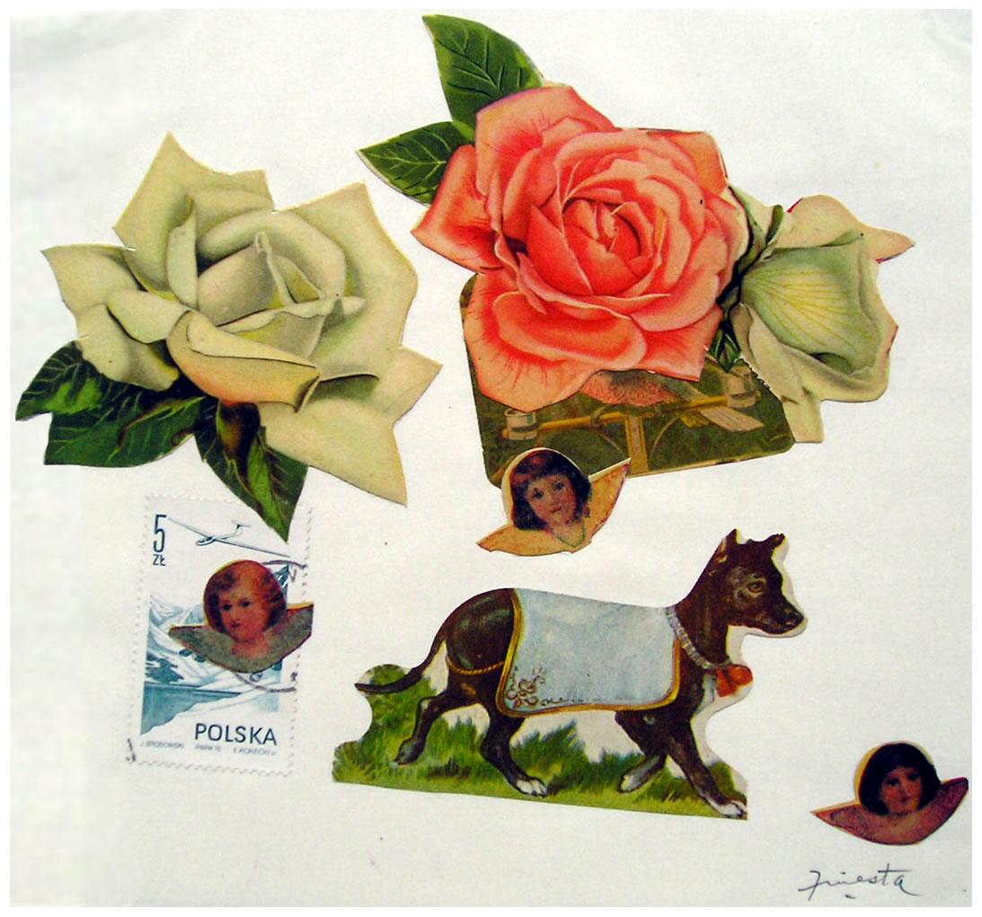 Perro,  papel collage, 15 cm x 15 cm, 1999