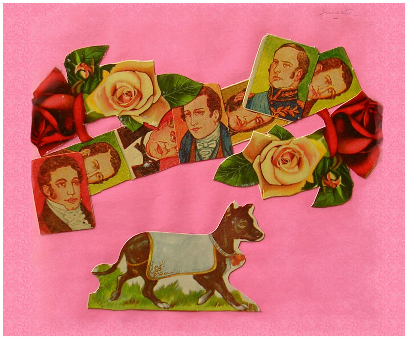 Próceres I,  papel collage, 15 cm x 15 cm, 1999