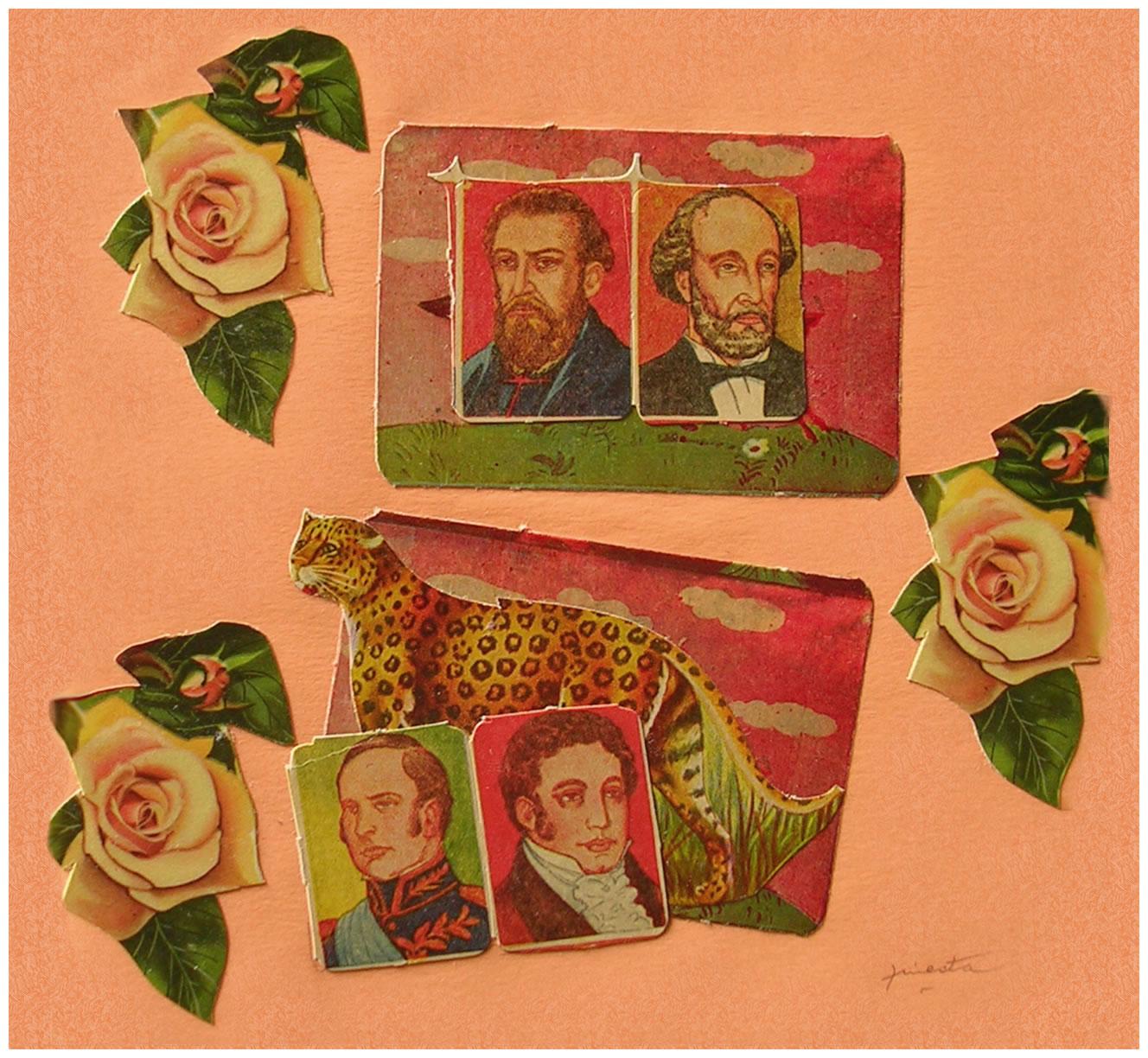 Próceres,  papel collage, 15 cm x 15 cm, 1999