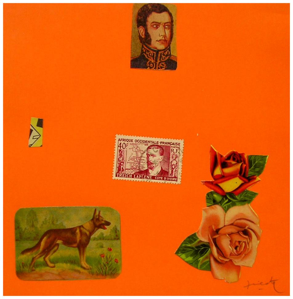 San Martín,  papel collage, 15 cm x 15 cm, 1999
