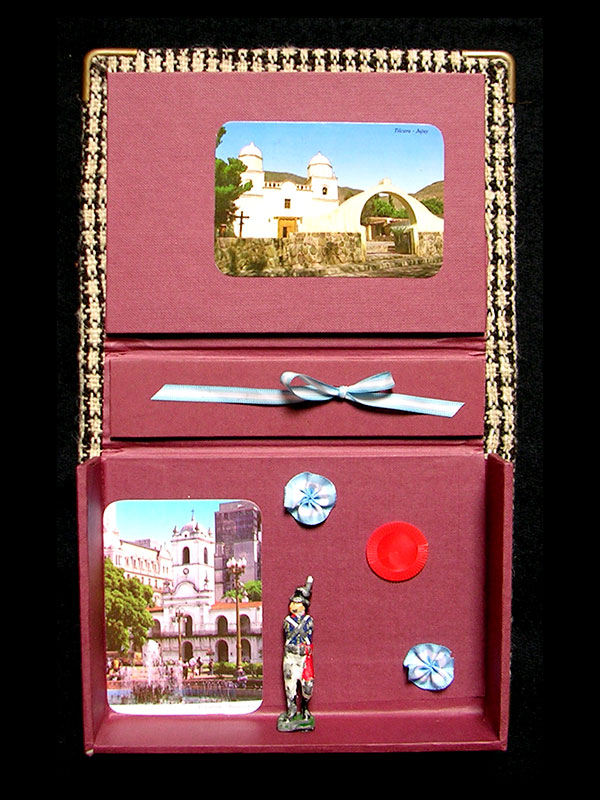 Caja bordo, objetos ensamblados, detalle interior, 5 cm x 14 cm x 19 cm, 2006