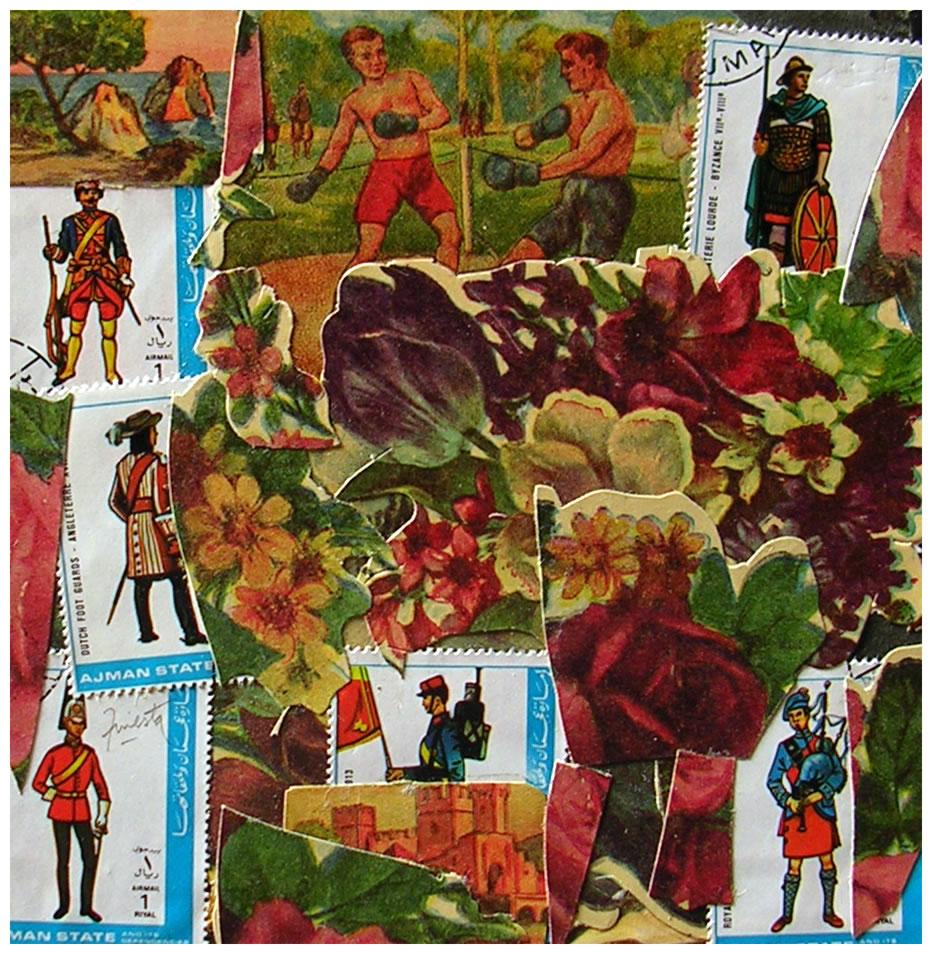 Soldados y maleza,  papel collage, 15 cm x 15 cm, 1999