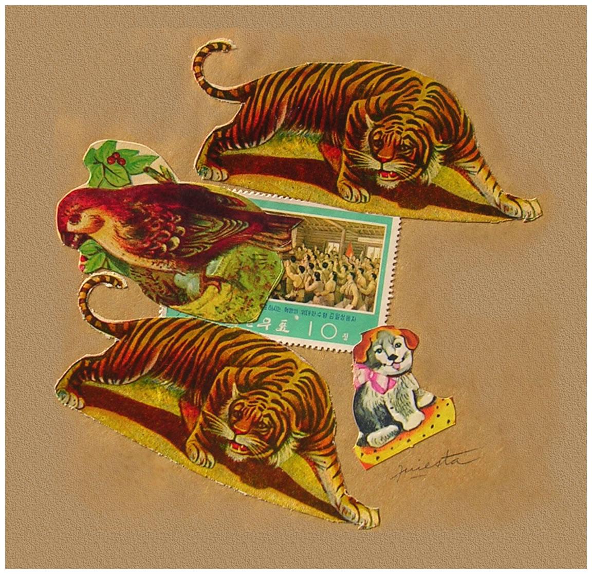 Tigres,  papel collage, 15 cm x 15 cm, 1999