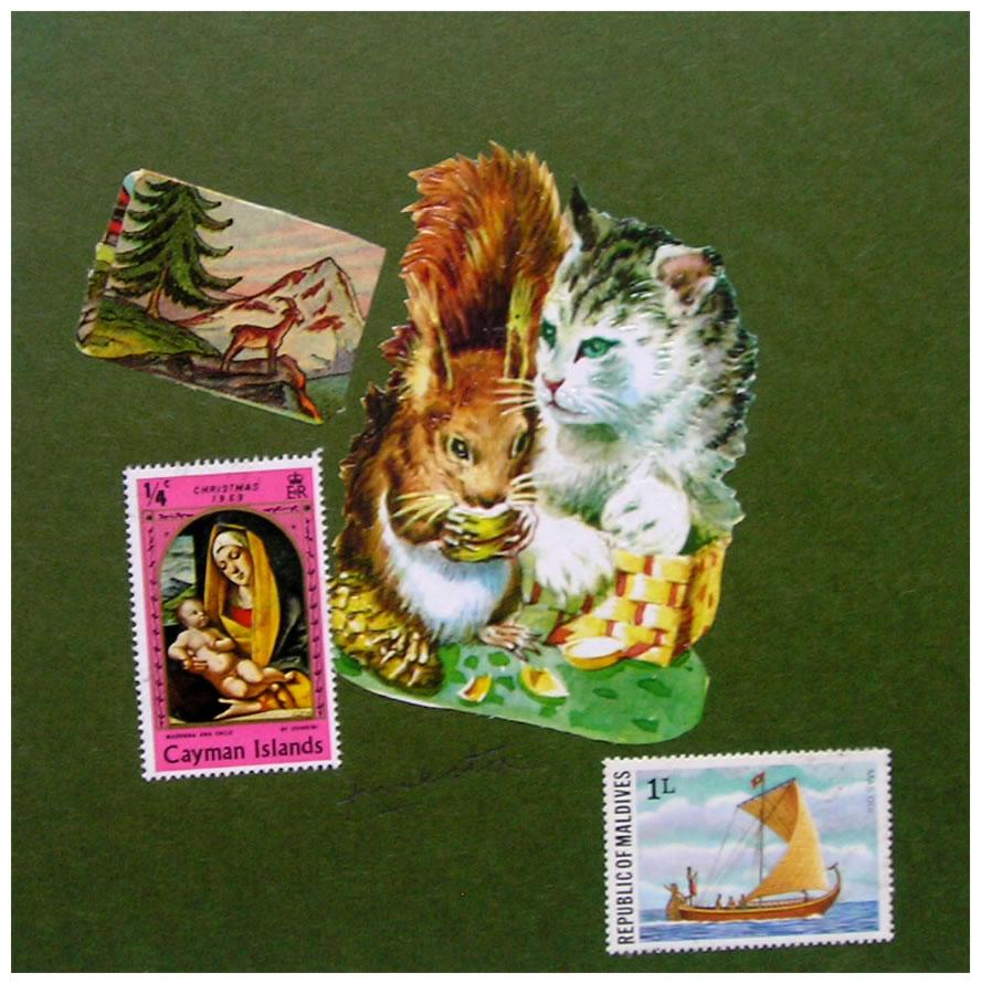 Ardilla y Felino,  papel collage, 15 cm x 15 cm, 1999