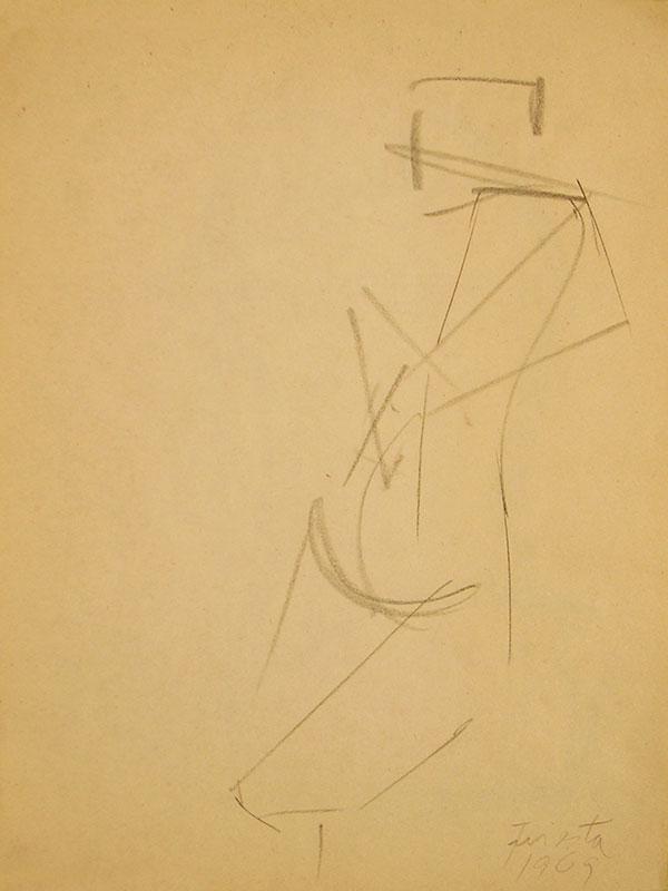 Figura humana, carbonilla sobre papel, 27 cm x 21 cm, 1969
