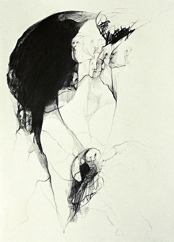 Figura humana, lápiz sobre papel, 21 cm x 18 cm, 1970
