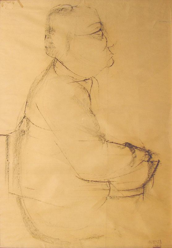 Figura humana, carbonilla sobre papel, 1967