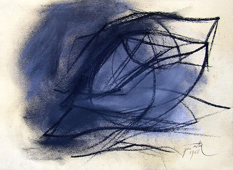 Estudio, carbonilla y lápiz sobre papel, 24 cm x 34 cm , 1968