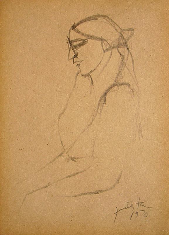 Figura humana, carbonilla sobre papel, 19,5 cm x 14 cm, 1970