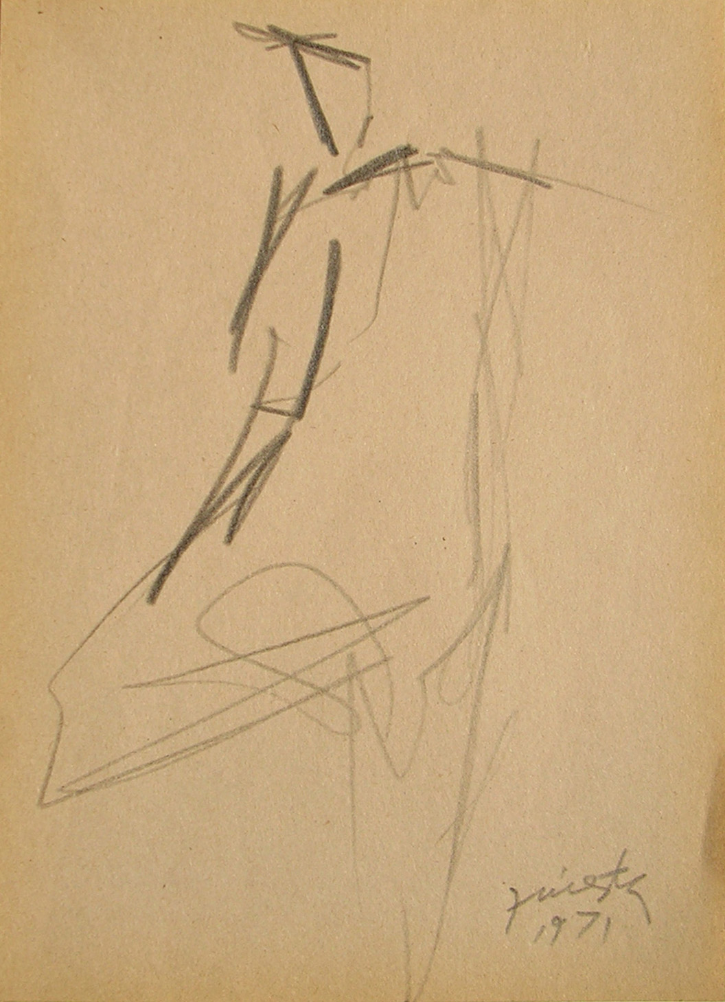 Figura humana, carbonilla sobre papel, 19 cm x 13 cm, 1971