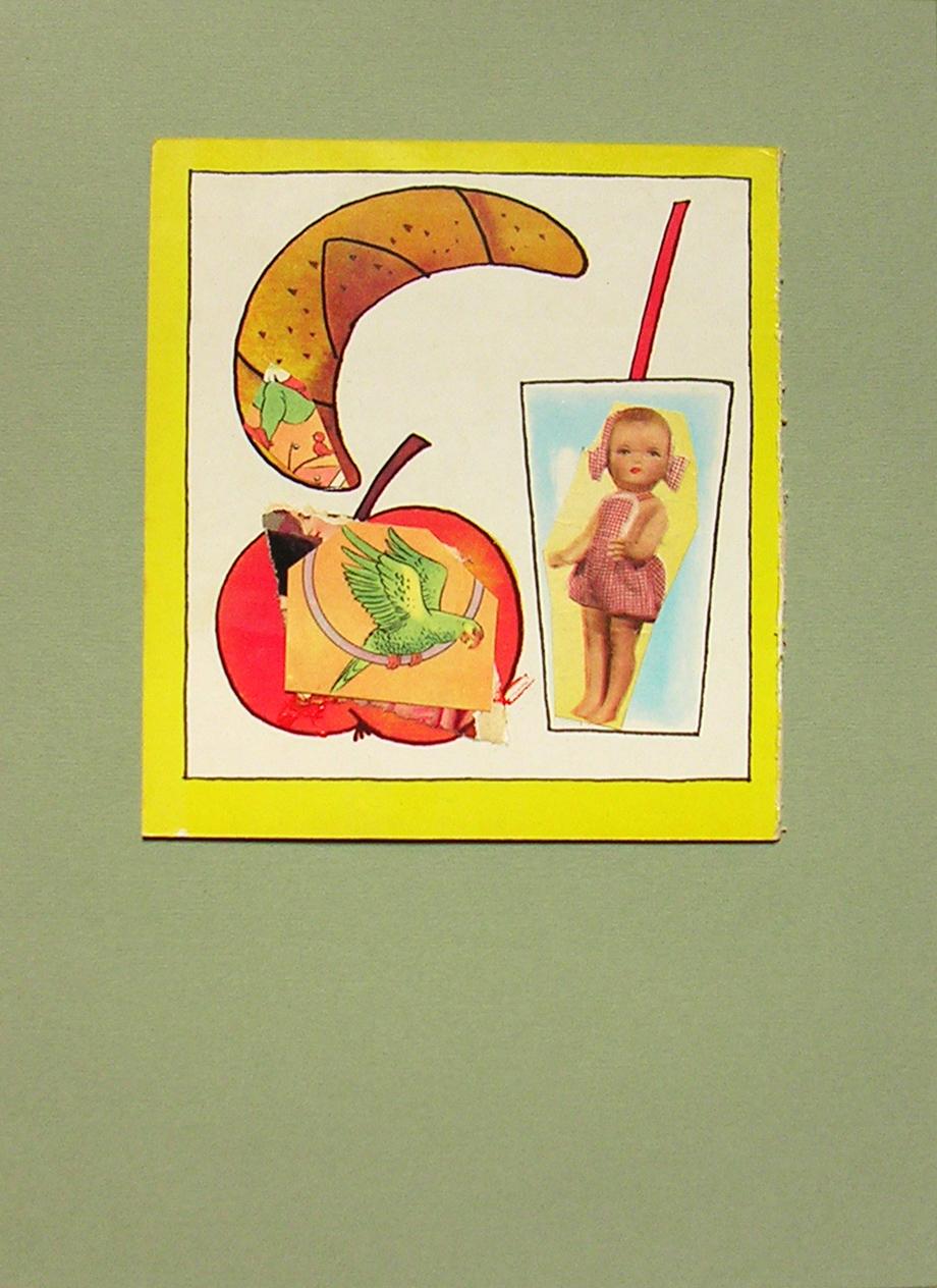 intervención sobre páginas de libros infantiles, 16 cm x 14,50 cm ( con marco 33 cm x 25 cm)