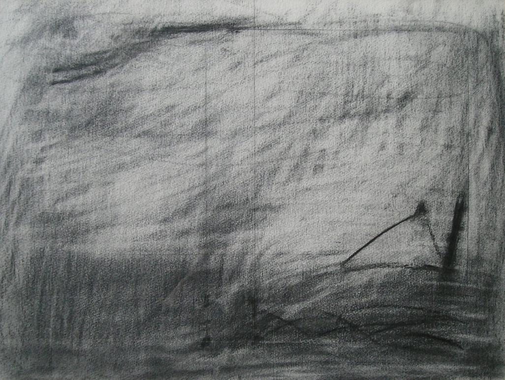 Paisaje V, carbonilla sobre papel, 1984