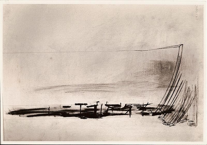 Paisaje II, carbonilla sobre papel, 50 cm x 70 cm, 1984