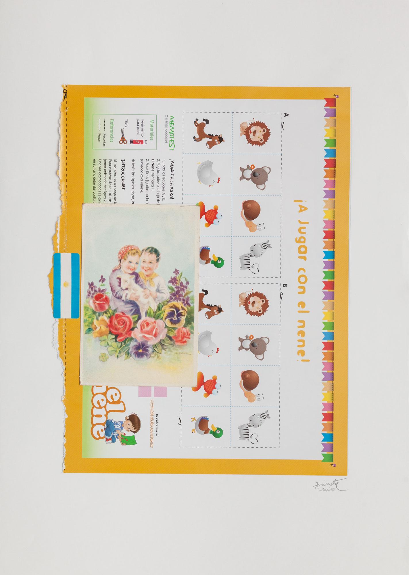 Infancia, serie La sutileza de la imagen_papel collage 30 cm x 22 cm 2020