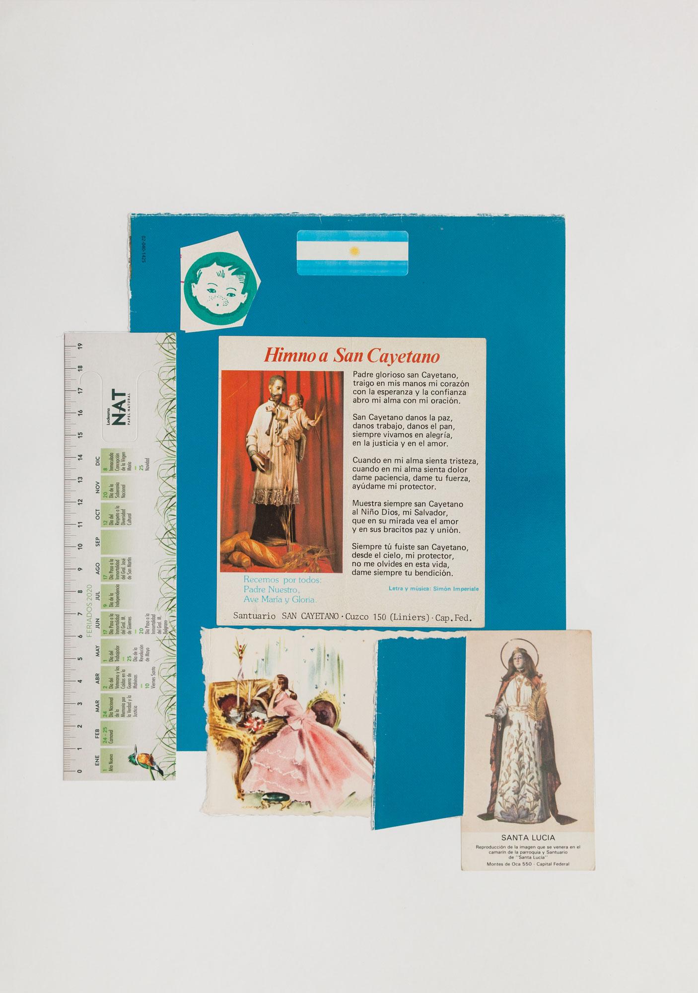 Contando los días, serie La sutileza de la imagen_papel collage 44 cm x 31 cm cm 2020
