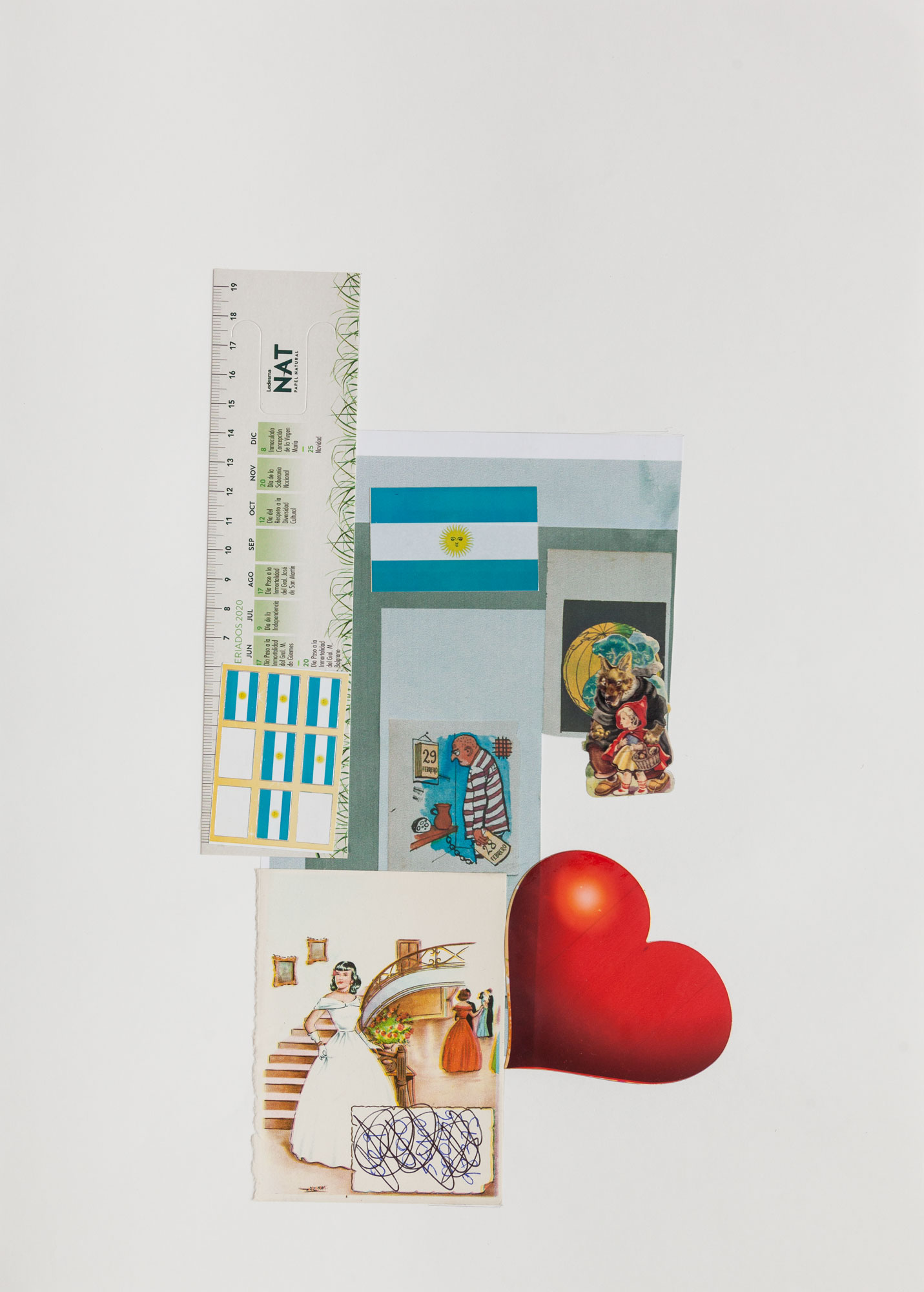 Puro corazón, serie La sutileza de la imagen_papel collage 44 cm x 31 cm 2020