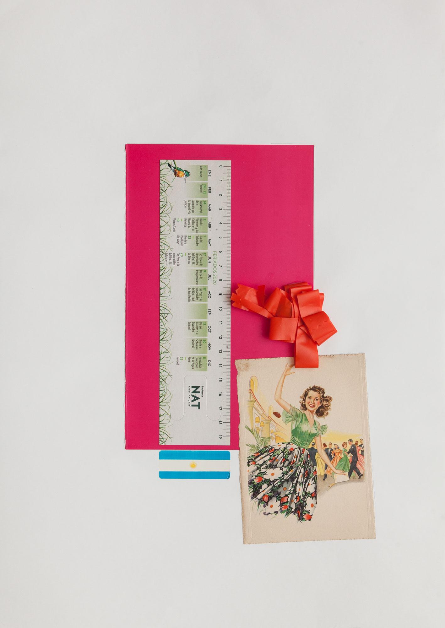 Tomando medidas, serie La sutileza de la imagen_papel collage 44 cm x 31 cm 2020