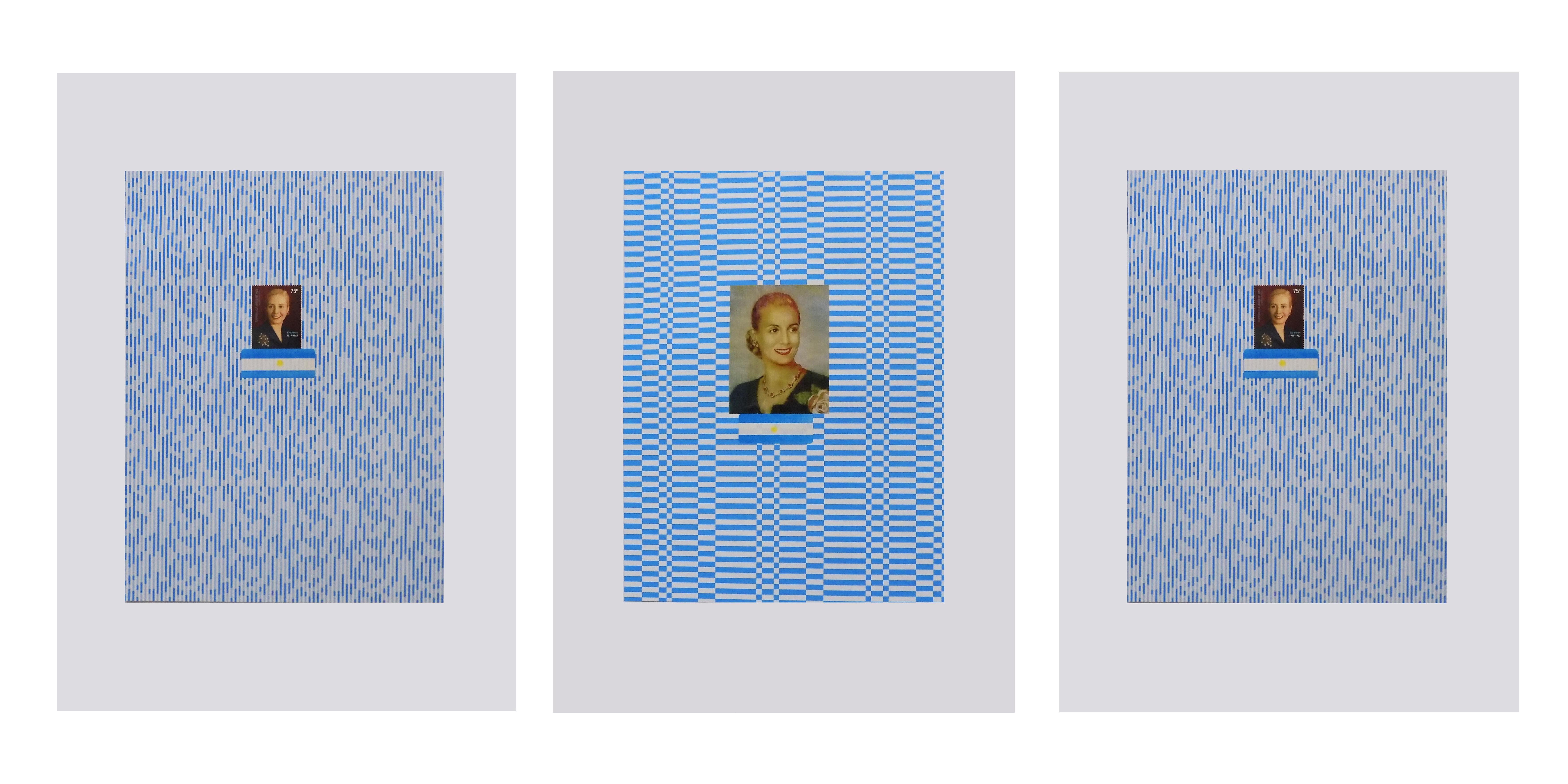 Evita,serie collage año belgraniano, tríptico, 80 x 30 2020