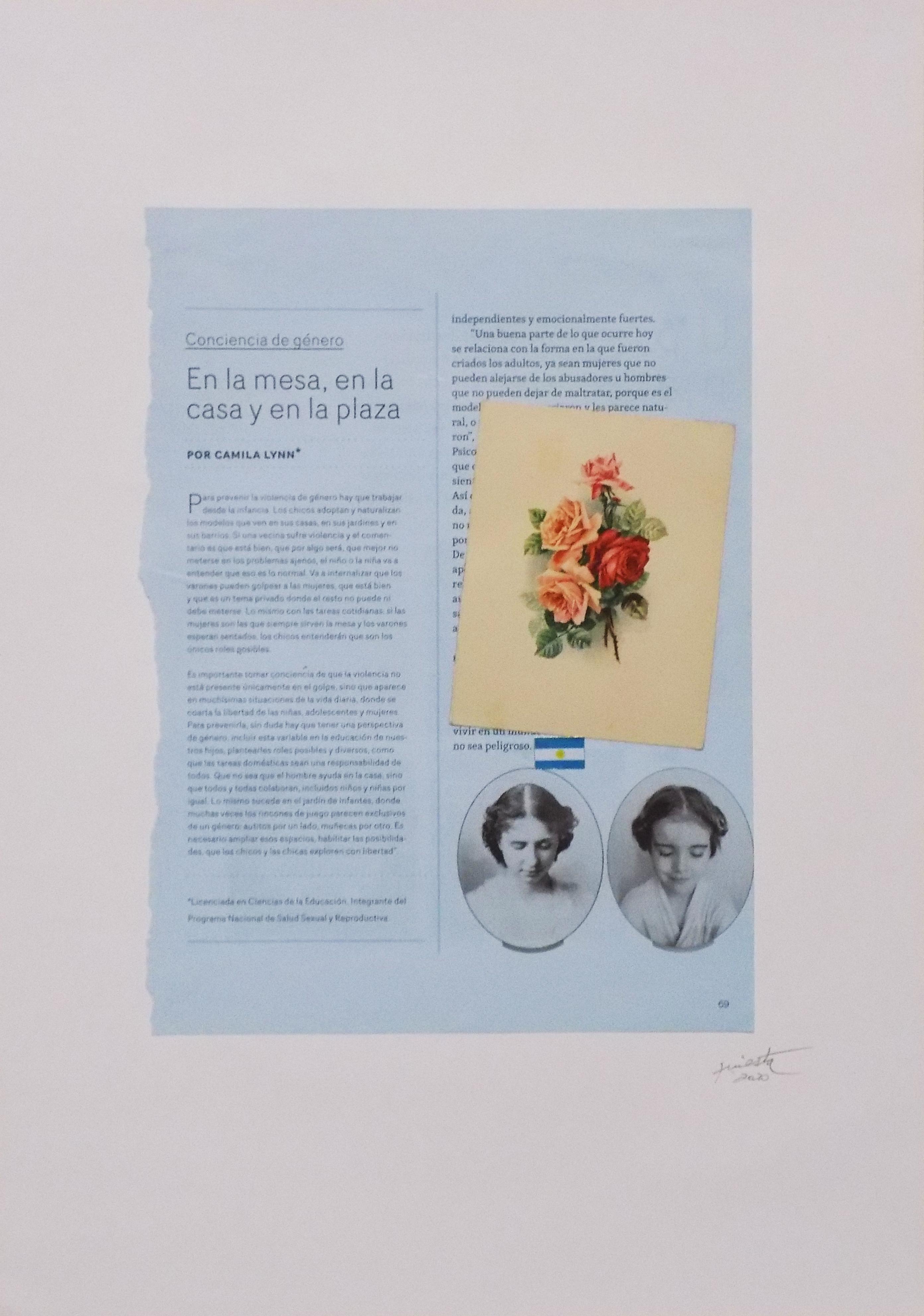 Rosas, serie La sutileza de la imagen_papel collage 30 cm x 22 cm 2020
