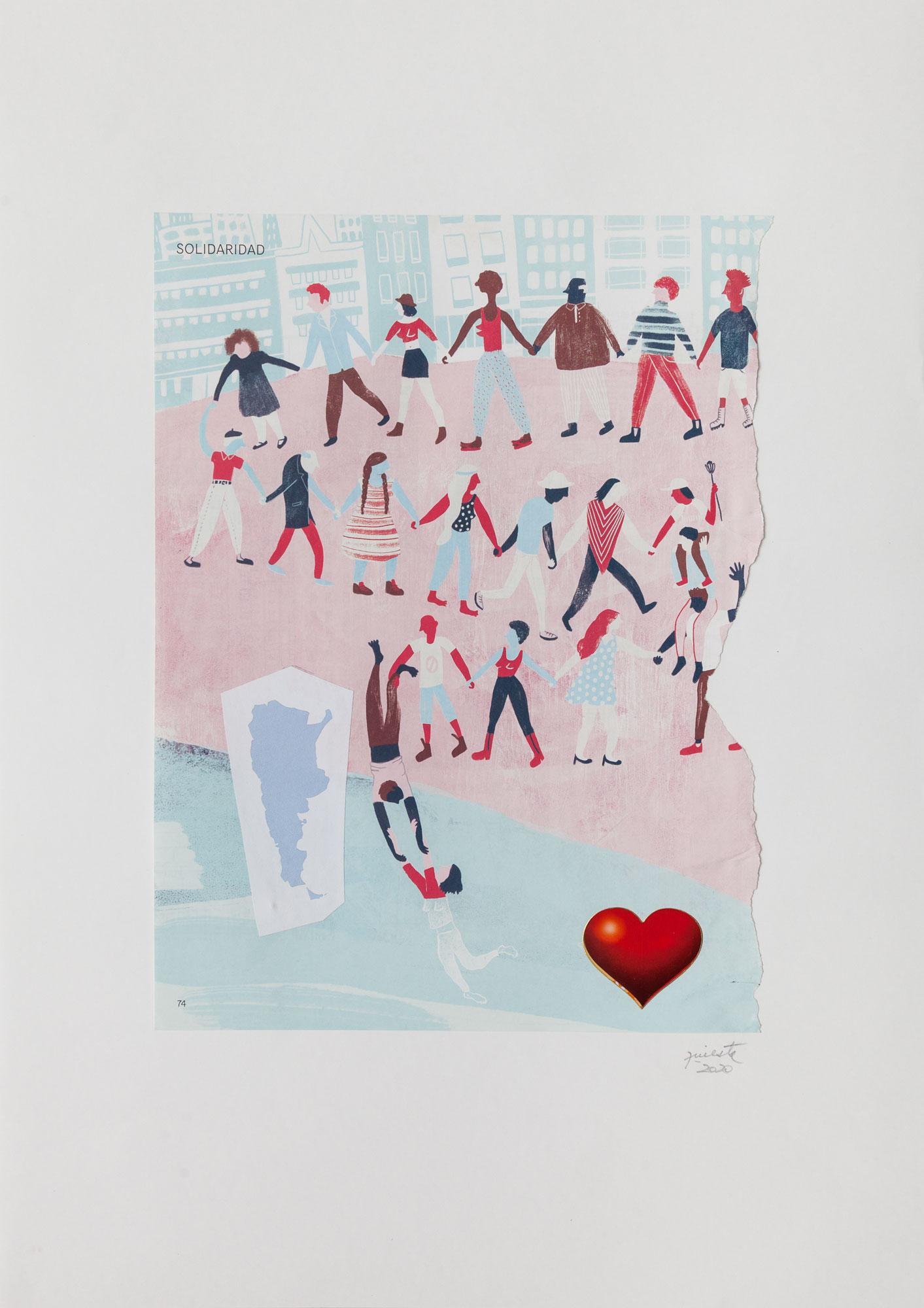 Solidaridad, serie La sutileza de la imagen_papel collage, 30 cm x 22 cm 2020